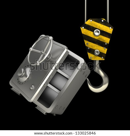 Yellow crane hook lifting steel bank safe isolated on black background High resolution 3d illustration - stock photo