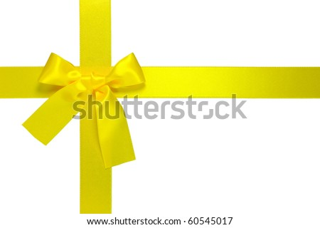 yellow cross ribbon with bow isolated on white background