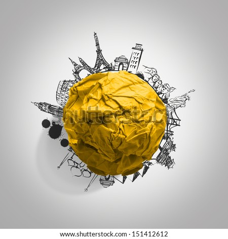 yellow crumpled paper and traveling around the world as concept - stock photo
