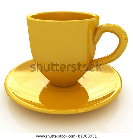 yellow cup isolated on a white background
