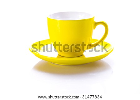 Yellow cup with plate