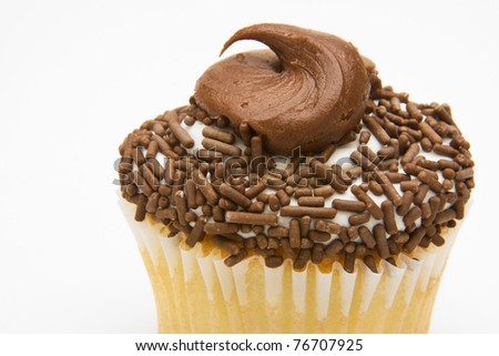 Yellow cupcake with chocolate frosting topped with chocolate sprinkles against a white background.