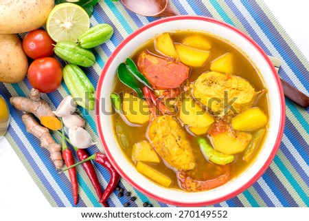 Yellow Curry with Fish Thai Southern Style Food