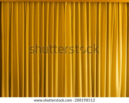 Yellow Curtain With Frame For Background And Texture