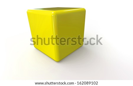 Yellow 3d cube isolated on white