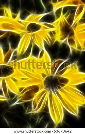 Yellow Daisies A fractal filtered image of yellow daisies. Vertical. - stock photo