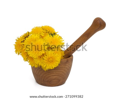 yellow dandelions in a mortar isolated on white - stock photo