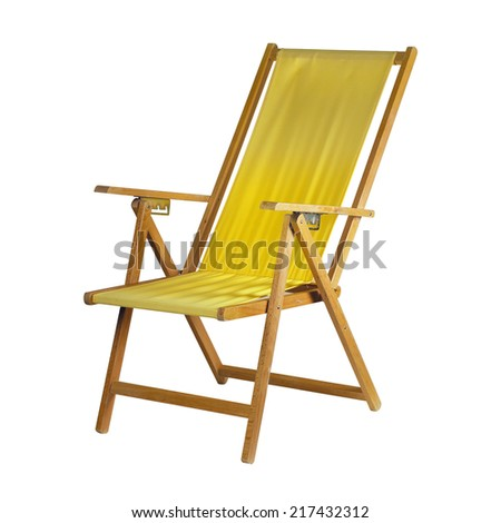 Yellow deck chair isolated on white background - stock photo