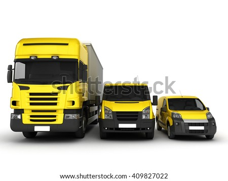 Yellow delivery cars on a white background.3D illustration.