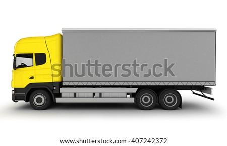 Yellow delivery truck on a white background.3D illustration.