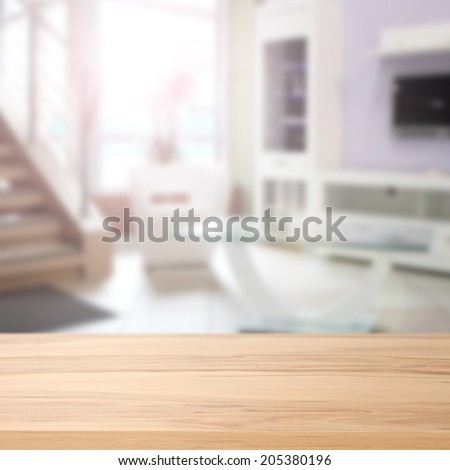 yellow desk and interior  - stock photo