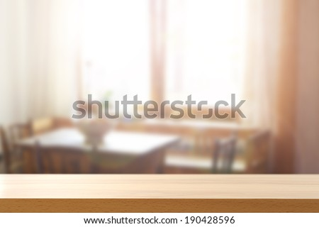 yellow desk and window space with sun  - stock photo