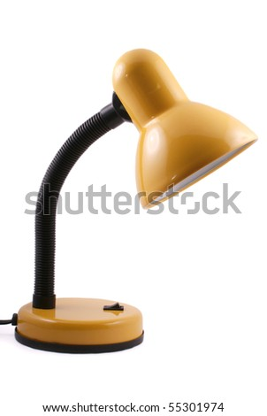 yellow desk-lamp isolated on white background - stock photo