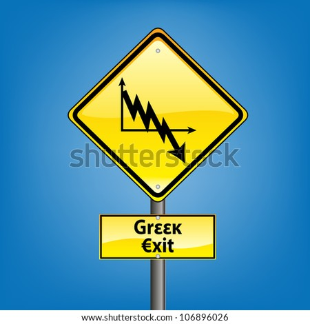 Yellow diamond hazard warning sign against blue sky - euro crisis greek bankruptcy ahead indication, grexit - stock photo
