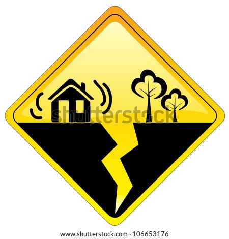 Yellow diamond square hazard warning sign - earthquake concept symbol indication with house and trees. - stock photo