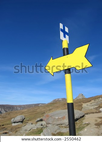 yellow direction sign - stock photo