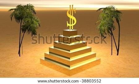 Yellow dollar on a pyramid in desert - stock photo
