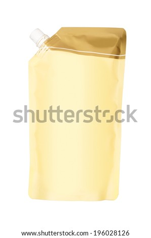 Yellow doy pack isolated on white background. With clipping path
