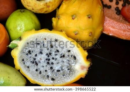 yellow dragon fruit - stock photo