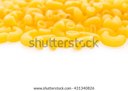 Yellow dry pasta and spaghetti for italian food ingredient isolated on white background