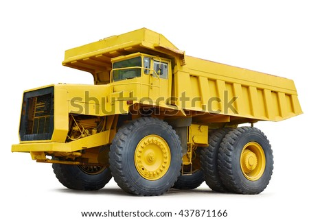 yellow Dumper industrial truck isolated on the white background. This has clipping path. - stock photo