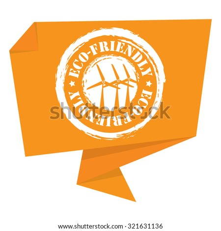 Yellow Eco-Friendly Paper Origami Speech Bubble or Speech Balloon Infographics Sticker, Label, Sign or Icon Isolated on White Background - stock photo