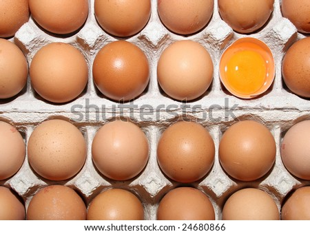 yellow egg in the middle of other eggs