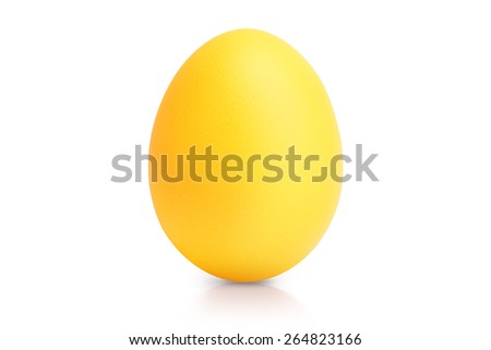 yellow egg isolated on white with reflection - stock photo