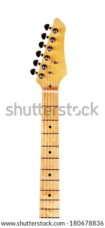 yellow electric guitar fretboard, isolated on white - stock photo