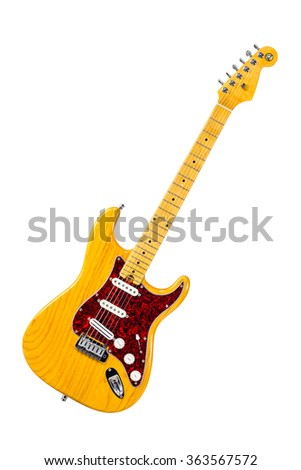 Yellow electric guitar on the white background - stock photo