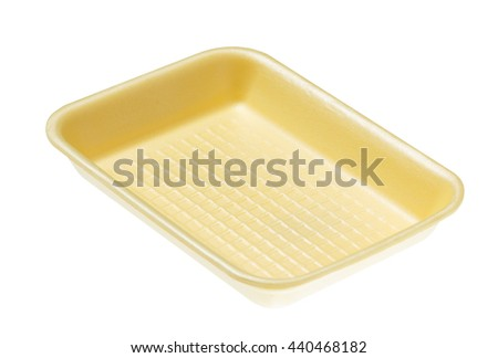 Yellow empty food tray. Isolated on white background - stock photo