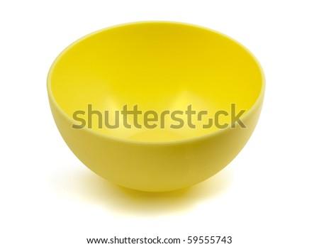 Yellow empty plastic bowl isolated on white - stock photo