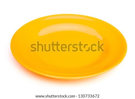 yellow empty plate on white with clipping path - stock photo