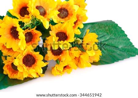Yellow fabric flowers isolated on white background. - stock photo