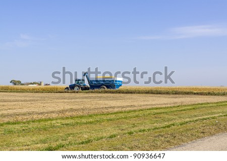 Yellow field on summer day in american country - stock photo