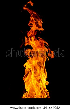yellow Fire flame isolated on background - stock photo