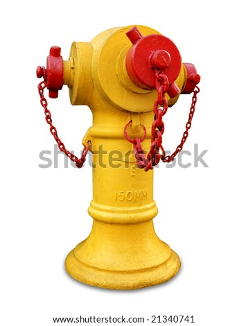 Yellow Fire hydrant isolated - stock photo