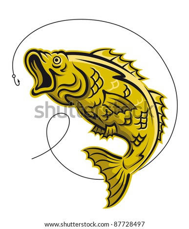 Yellow fish as a fishing symbol isolated on white background. Vector version also available in gallery - stock photo