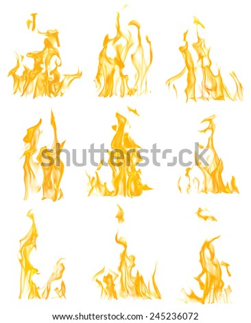 yellow flames isolated on white background - stock photo