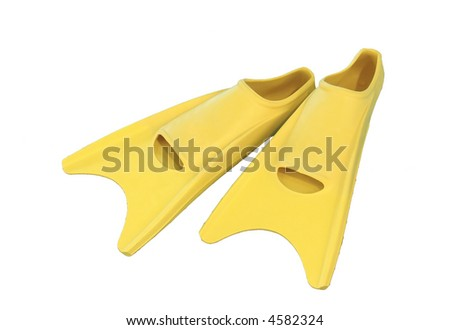 Yellow flippers isolated on white background - stock photo