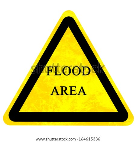 yellow flood sign isolated on a solid white background