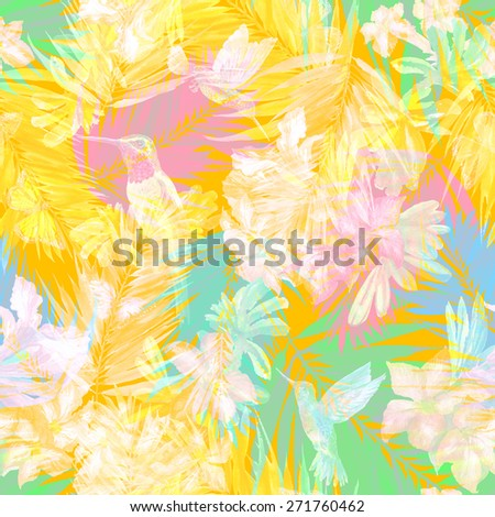 yellow floral pattern on white leaves background. White blossom flowers and palm leaves. Bird flying and butterfly - stock photo