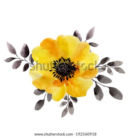 Yellow flower watercolor painting flowers isolated stock yellow flower watercolor painting flowers isolated on a white background raster version mightylinksfo