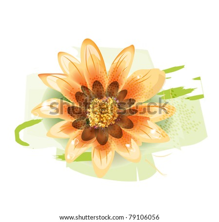 yellow flower with dew drops - stock photo
