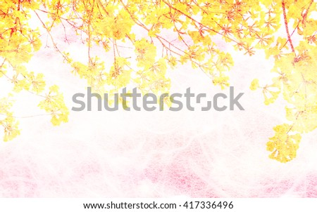 Yellow flowers in mulberry paper texture pastel color style soft blur for background. - stock photo