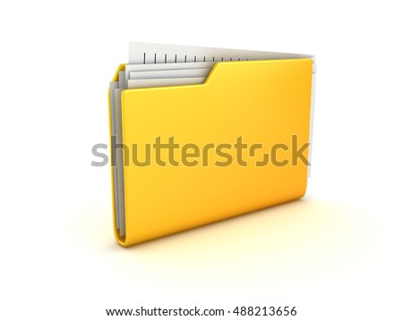Yellow folder and documents , This is a 3d rendered computer generated image. Isolated on white.