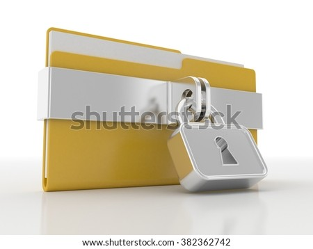 Yellow folder and lock and Data Security Concept