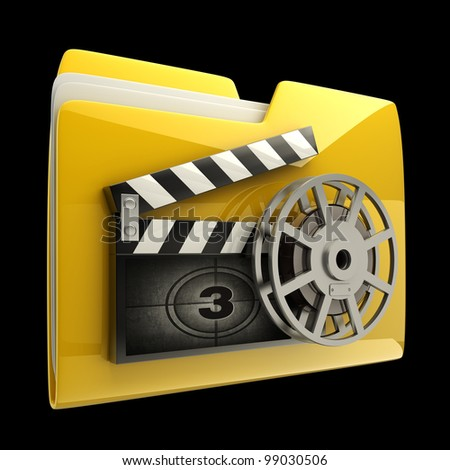 Yellow folder clap board with countdown isolated on black  background High resolution 3D - stock photo