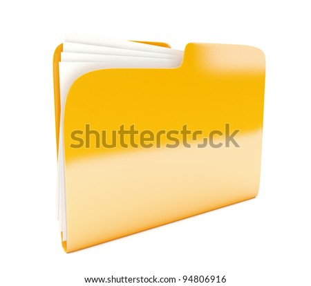yellow folder 3d icon  isolated on white