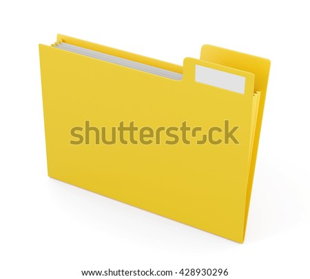 Yellow folder for files isolated on white background. 3d rendering.